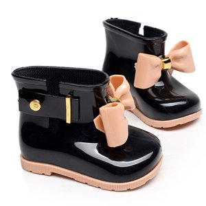 Kids Shoes Girls Mini Melissa Shoes Baby Bows Jelly Rain Boots New Non-Slip Princess Short Boots Children Jelly Water Boots B372