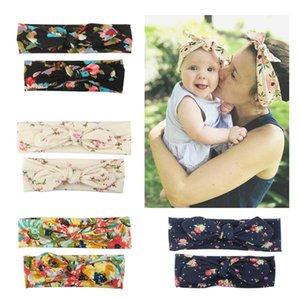 Madre bambino floreale fasce del neonate Piccolo Fiore stampato Bow-tie fascia Suits Kids Designer Band Headwear delle ragazze del bambino di capelli