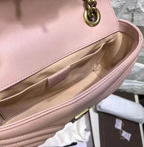 2020 Zincir Çanta Tasarımcısı Omuz Çantaları Antik Altın Zincir toppest Kalite 22cm Lampskin Deri Marmont Messenger Çanta Uzun Gerçek Deri