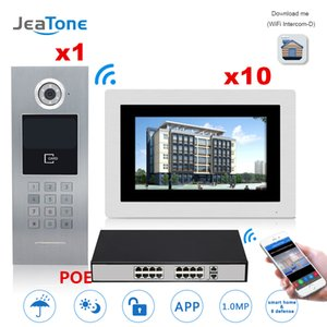 """JeaTone 7 """" Touch Screen Wi-Fi IP Video Door Phone Intercom +POE Switch 10 Floors Building Access Control System Support Password/IC Card"""