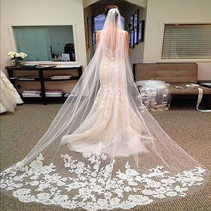 Hirigin 2PCS Cattedrale Bianco Avorio Lunghezza del bordo del merletto sposa da sposa lungo velo + pettine