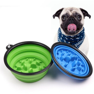Foldable portable dog bowl 2 sizes pet feeding bowl slow food bowls dog cat water feeder dishes travel collapsible choke bowls with hook