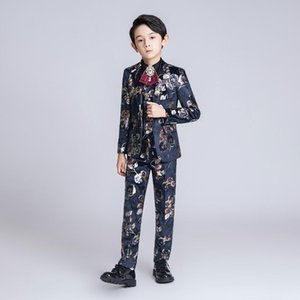 YuanLu 2020 Kids Suit For Boy Velvet Blazer Jackets For Wedding Party Autumn Winter Flower Boy Formal Suits Children Clothes