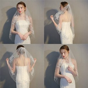 Novo casamento Uma camada Acessórios Curto Véu do casamento White Lace Rhinestone Bridal Veil Véu Com Pente
