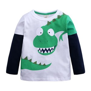 Kids T-shirts Boys Tees Long Sleeve Cartoon Dinosaur Printed Tops Hoody T-shirt Children Baby Clothes Kids Clothing 8S15