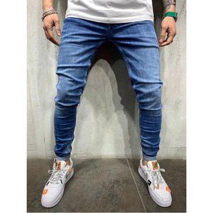 Designer Mens solide Jeans Mode Bleu Skinny Jean Pantalons Casual Male Sport Hombres Pantalons Vêtements