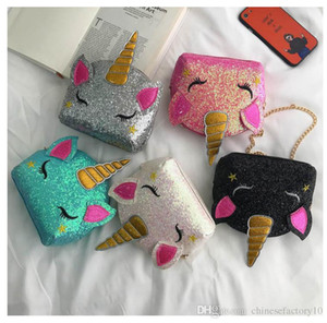 Lantejoulas Bolsas Unicorn Crossbody Bag Cartoon Girls Cadeia Bolsas de Ombro Crianças Bling bolsas mensageiro presente 5 Cores