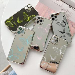 Модный глянцевый зеркальный чехол для телефона iPhone 11 11Pro Max X XR XS 7 8 Plus красивый узор бабочки мягкая задняя крышка TPU