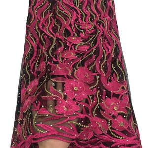 Nueva llegada 2019 de encaje francés nupcial bordado de tul de encaje tejido. La tela del cordón africano nigeriano nigeriano para party dress.5yards / lot