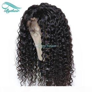 Bythair 13x6 Deep Part Lace Front Human Hair Wig Deep Curly Pre Plucked Hairline Brazilian Virgin Hair Curly 150% Density Bleached Knots