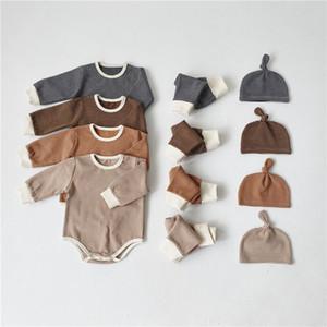 Yeni INS Bebek Yürüyor Çocuklar Erkekler Kızlar Pijama Suits Uzun Kollu Çizgili tişörtleri + Pantolon + Şapka 3Pieces Suits Fall Çocuk Giyim Kıyafetler
