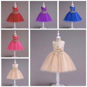 Kids Designer vestiti tutu delle ragazze della principessa Dress fiori ricamati Abiti Baby stampato Summer Dance Abito senza maniche dei vestiti da partito C198