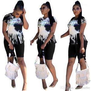 Piece Women Set Casual Tassel Letter Print Crew Neck Knee Length Jumpsuits Women Tracksuits Tie Dyed 2
