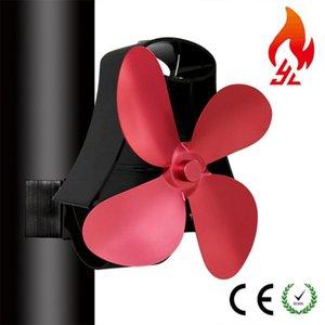 Estufa 4 aspas de aluminio Heat Fan Desarrollado quemador de bajo ruido del ventilador de distribución de calor del disipador de calor Inicio Ventilación dispositivo