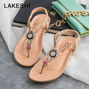 LAKESHI Zapatos con correa en T Sandalias para mujer Sandalias planas de verano 2019 Chanclas bohemias Zapatos de mujer Roman Casual Sandalias de playa Sin cordones