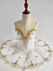 Women Ballet Dance Dress Girls Lake Swan Tutu Ballet Dress Gold Lace Ballerina Diamond Professional Performance Costume