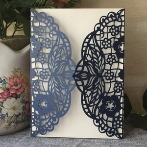 luxury hollow navy blue butterfly laser cut Pearl paper envelop wedding invitaion birthday dinner party Multi Color Free Shipping