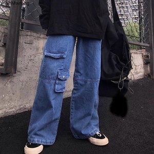 Frente de carga de bolsillo de cintura alta recto flojo del dril de algodón de las bragas de las mujeres Hombre Streetwear novio Harajuku holgada Casual pantalones vaqueros Corea