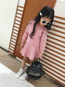 Wholesale Beading Knitted Girl Clothing Sets Solid Color Long Sleeve Sweater+Skirt 2pcs Outfits Baby Clothes 2-6Y B64