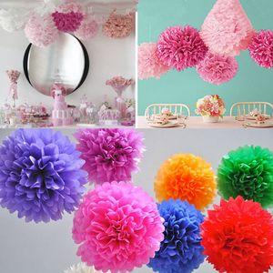 Renkli Doku Kağıt Çiçek Topu Doku Kağıt Pom Poms Düğün Doğum Günü Noel anneler günü Partisi Dekorasyon Için RRA1800