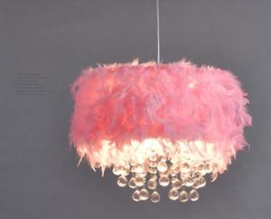 북유럽 현대 색 날개 샹들리에 소녀 침실 공주 룸 어린이 룸 램프 창조적 인 분홍색 LED 크리스탈 샹들리에 LLFA
