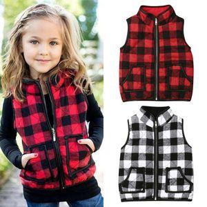 1-6Y Kleinkind-Kind-Baby-Mädchen-Plaid-Weste Outwear Reißverschluss-Mantel Weste warme Jacken-Herbst-Winter