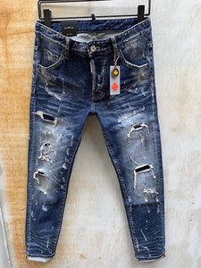 2020 spring and summer new men's jeans straight straight slim feet micro-elastic casual splash ink hole patch wild
