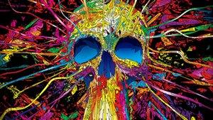 150см*90см 3*5 футов психоделический череп обои флаг баннер летящий домой полиэстер пользовательские висячие дома декоративные два металлических люверса