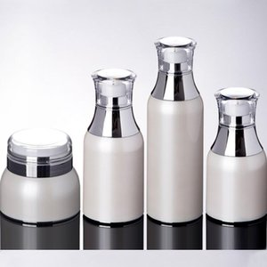Plastic Cosmetic Jars Containers Set Pearl White Vacuum Lotion Toner Essence Cream Bottle Packing Bottles Makeup Storage Jar 0205PACK