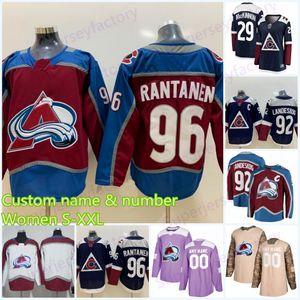 Femmes 96 Mikko Rantanen Colorado Avalanche Jersey 29 Nathan Mackinnon 33 Patrick Roy 9 Matt Duchene Nikita Zadorov Cale Mak Hockey Jerseys