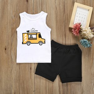 KLV infants summer sets infant Baby Boys Sleeveless Cartoon Print Tops Vest + Solid Shorts Outfit#y20