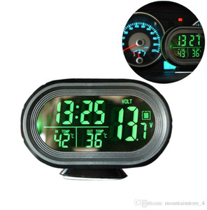 Auto Voltage Monitor Car Clock Termometro Retroilluminazione digitale Snooze Mode Vibrazione Allarme auto Nap Zapper Allarme per la sicurezza (vendita al dettaglio)
