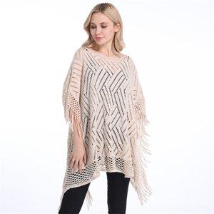 Yaz Kadın Kazak Kadın Giyim Sonbahar Kadın PonchoThin Triko Katı Hollow Panço Hırka Artı boyutu Sweaters Püskül Kazaklar Bi