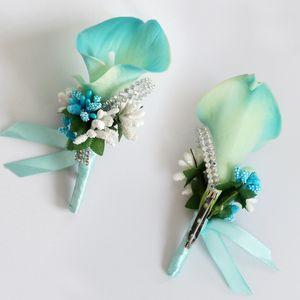Wedding Groom Groomsman Boutonniere Fleur artificielle Corsage Homme Suit Broche Clip-on pour la décoration de fête de la mariée