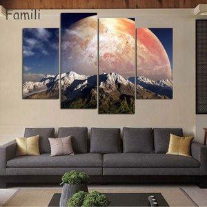 4Panels Modern Printed Space Universo Dipinti di paesaggi Immagine su tela Cuadros Earth Painting For Living Room No Frame