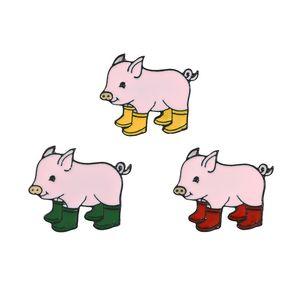 Piggy in Rain Boots Cartoon Brooch Pink Pig Drip Badge Hard Enamel Pin Collection Button Collar Decor Bag Kids Jacket Denim Hat Accessory