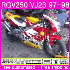 Bodys For SUZUKI SAPC RGV-250 VJ22 VJ21 RGV 250 97 98 99 Frame 19HM.31 RVG250 VJ23 RGV250 VJ 21 22 23 1997 1998 1999 Fairing red yellow