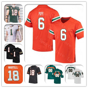 Ncaa 2019 Uomini Miami Hurricanes College Football pullover su ordinazione 18 Tate Martell 5 N'kosi Perry 12 Malik Rosier 20 Reed Robert Burns Verde