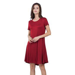 Femmes robes lâches manches courtes col rond col solide couleur robe d'été jupe mode sexy mini robe s-xxl
