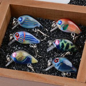 Crankbaits Iscas De Pesca Wobblers Pintura Série para Pesca Topwater Artificial Bass Pesca Minnow Isca 1.5g 3 cm 6 pçs / lote