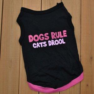 Лето Хлопок Черный Жилет для Собак Дышащий Ropa de Perros Одежда Для Собак Письмо Печатный Пуловер Футболки