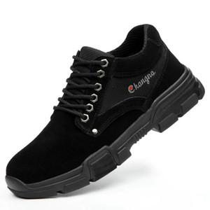 LEOSOXS zapatos de los hombres zapatos de trabajo de alta calidad de acero del dedo del pie Botas de seguridad transpirable ligero de protección contra la punción