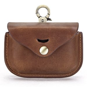 Coin purse Italian retro mad horse cowhide Unisex for SONY wireless headset leather case Cover oval