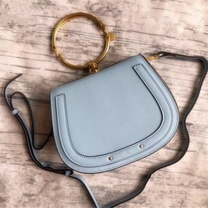 New Classic Metal Ring Real Leather Famous Shoulder Bag Women Cross-body Bag Handbag Good Quality Messenger Bags Chain Clutch Bag