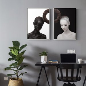 Черно-белая девушка 2 шт. Home Wall Art Decor Ручная роспись HD Печать Маслом На Холсте Wall Art Холст Картины 190907