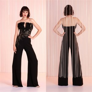 Cheap Sexy Black Evening Jumpsuit Appliqued Strapless Sleeveless Ruched Satin Prom Dress Backless Floor-length Custom Made Party Gown