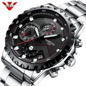 NIBOSI Fashion Mens Watches Top Brand Luxury Big Dial Military Quartz Watch Waterproof Chronograph Watch Men Relogio Masculino