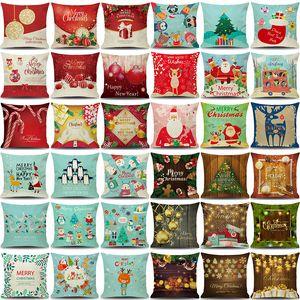 Симпатичные рождественские наволочки 18x18 лен Рождество бросить наволочки рождественские украшения дешевые печатные наволочки BH19034