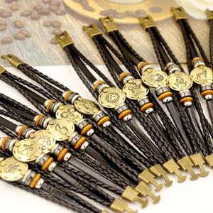 Nouveau en ligne à chaud Vente main hommes et femmes Antique plaqué or Bracelet tissé en cuir noir 12 Constellation Charm Bracelet