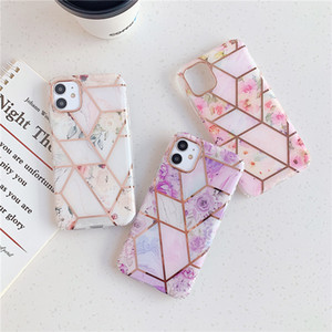iPhone para o caso banhado a ouro Marble Telefone 11 Pro XS MAX XR Galvanoplastia Flor tampa do telefone para Iphone X 8 7 6 Plus